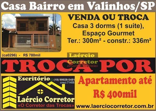 Casa com 3 dormitórios à venda, 336 m² por R$ 780.000,00 - Jardim Alto da Boa Vista - Valinhos/SP