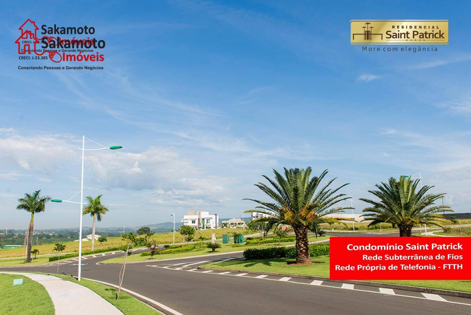 excelente terreno no condomínio saint patrick em sorocaba!localizado na parte alta do condomínio, possui leve declive...