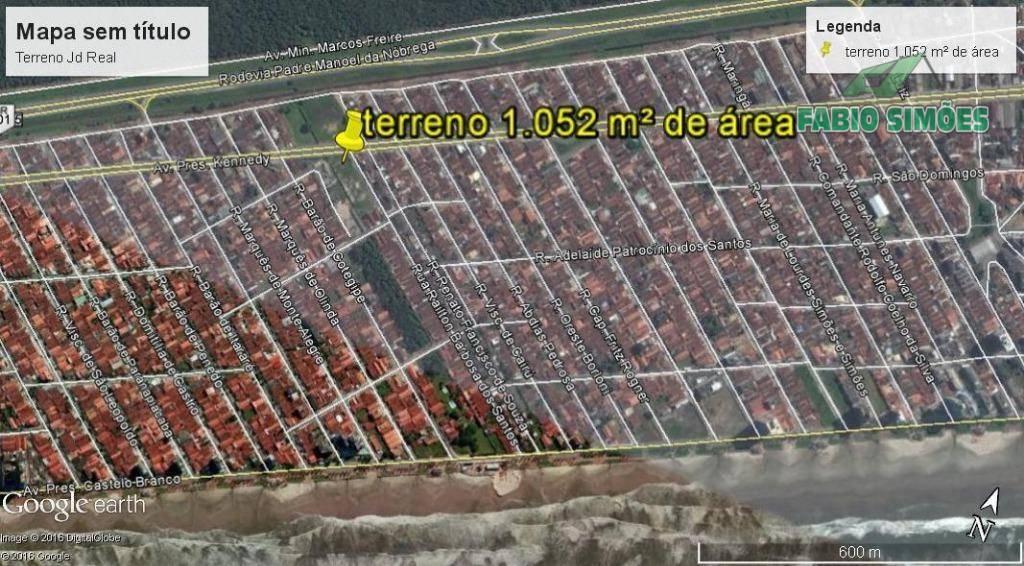 Terreno com toda documentação, na Vila Caiçara em Praia Grande - 1.052 m²