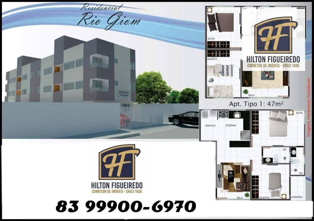 Apartamento residencial à venda,com dois quaros sendo um suite,cozinha em ótima localização Castelo Branco, João Pessoa.