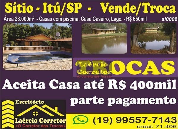 Sítio Itu/SP com 20.000m² 2 Casas, Lago, Piscina - Aceita Casa até R$ 400mil como parte de Pagamento