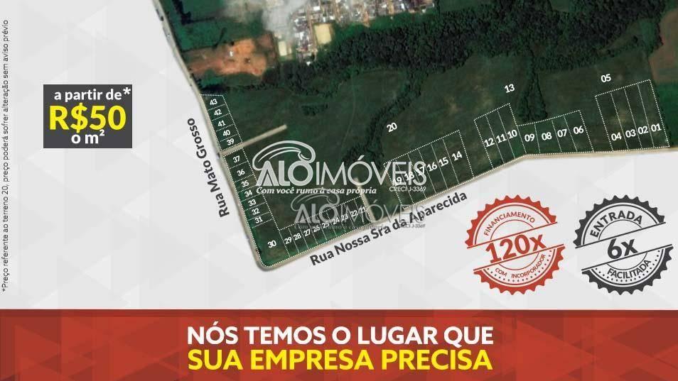 Terreno Comercial à venda, 1223 m² por R$ 244.774 - Estados - Fazenda Rio Grande/PR