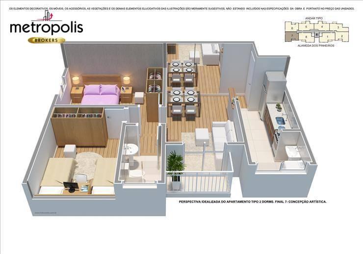 Apartamento com 2 dormitórios à venda, 53 m² por R$ 245.000 - Campestre - Santo André/SP