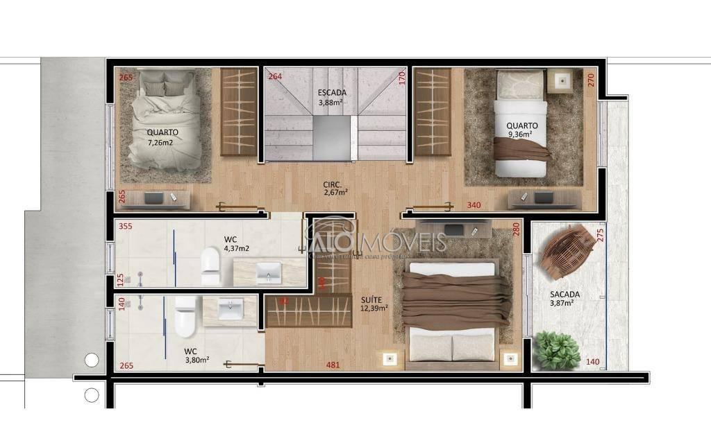 Sobrado com 3 dormitórios à venda, 124 m² por R$ 355.421 - Iguaçu - Araucária/PR