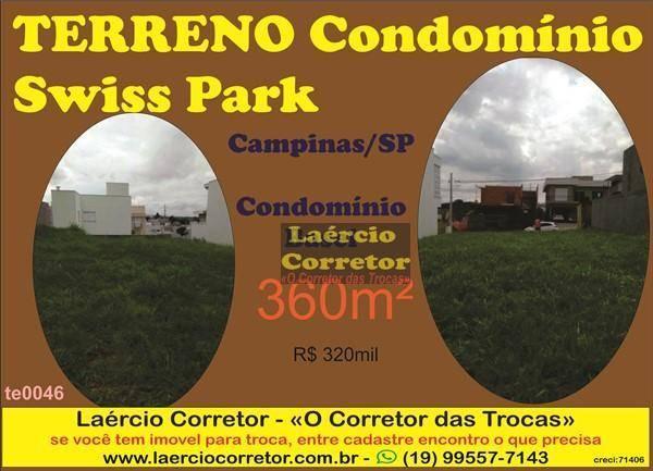 Terreno à venda, 360 m² por R$ 320.000 - Swiss Park - Campinas/SP