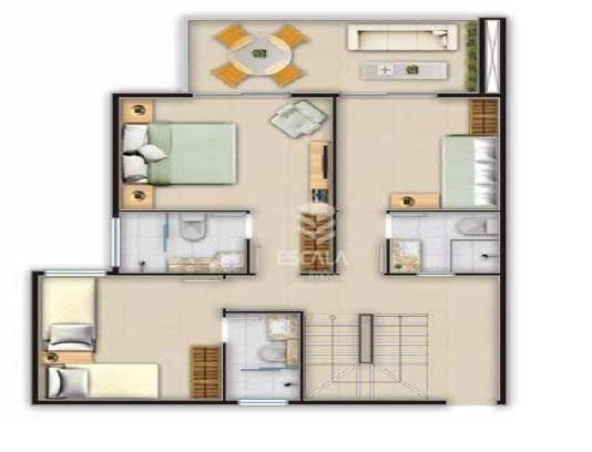 Cobertura duplex com 3 quartos à venda, 130m², 2 vagas, lazer completo ? Porto das Dunas - Aquiraz/CE