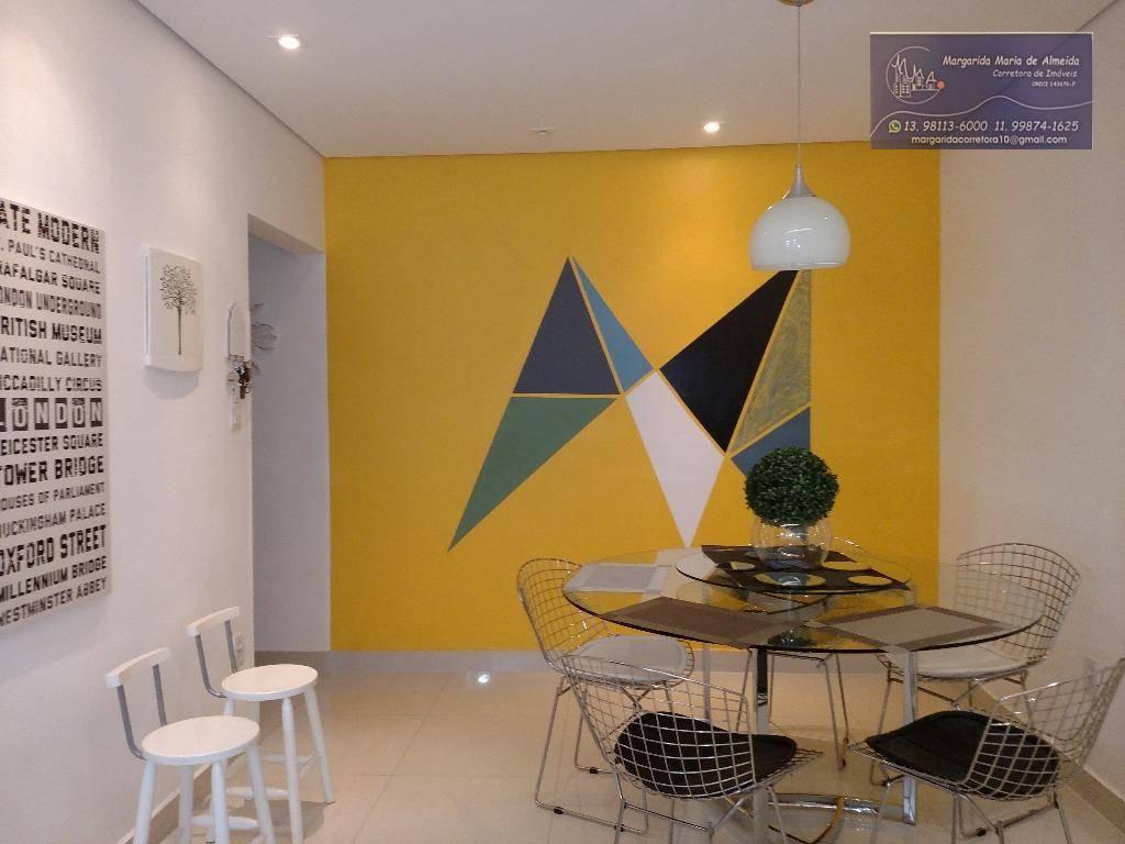 Venda, Permuta ou Locação Temporada apto, moderno, 2 dorm, garagem suficiente, próximo Sesc e Praia de Aparecida, Santos.