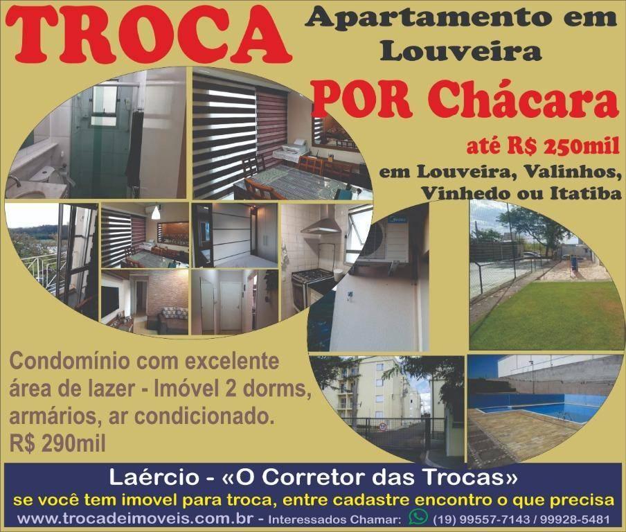 TROCA Apartamento Louveira POR Chácara até R$ 250mil na região
