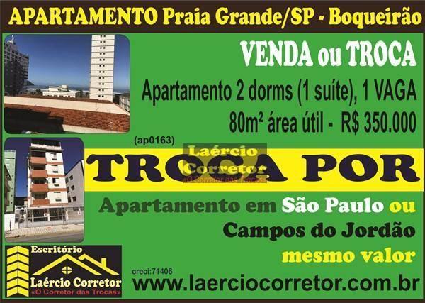 Apartamento com 2 dormitórios à venda, 80 m² por R$ 350.000,00 - Boqueirão - Praia Grande/SP