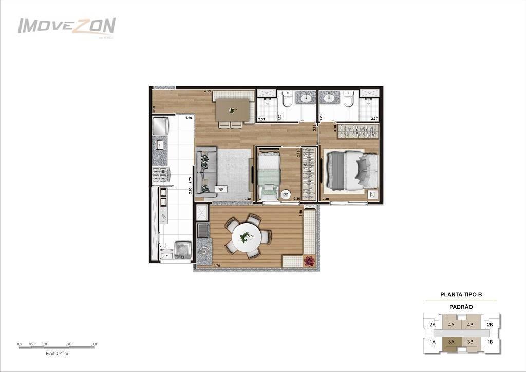 2 Dormitórios (1 suíte) - 60m²
