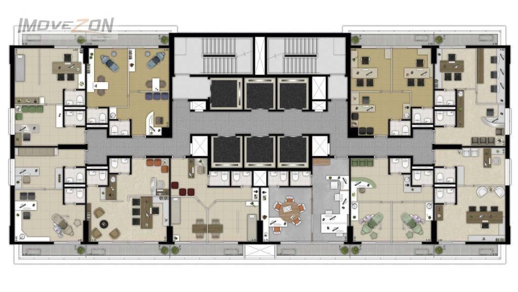Andar tipo - salas de 40m² com possibilidade de junções