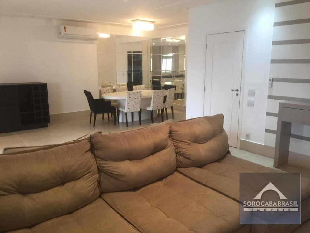 Apartamento com 3 Suítes para alugar, 196 m² por R$ 5.490,00/mês - Condomínio Único Campolim - Sorocaba/SP, Apartamento Mobiliado Próximo ao Walmart