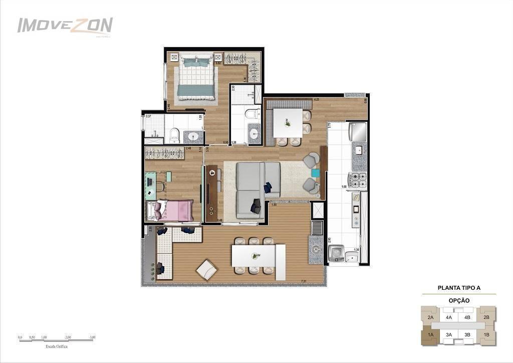 2 Dormitórios (1 suíte) - 78m²