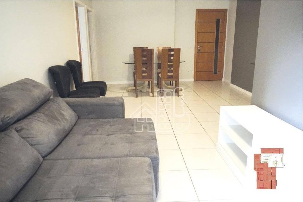 Apartamento com 3 dormitórios para alugar, 97 m² por R$ 2.200/mês - Santa Rosa - Niterói/RJ