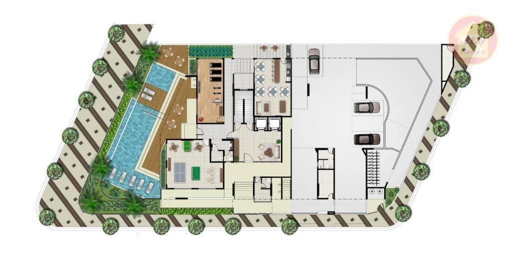 Apartamento com 2 dormitórios à venda, 75 m² por R$ 363.625,93 - Vila Atlântica - Mongaguá/SP