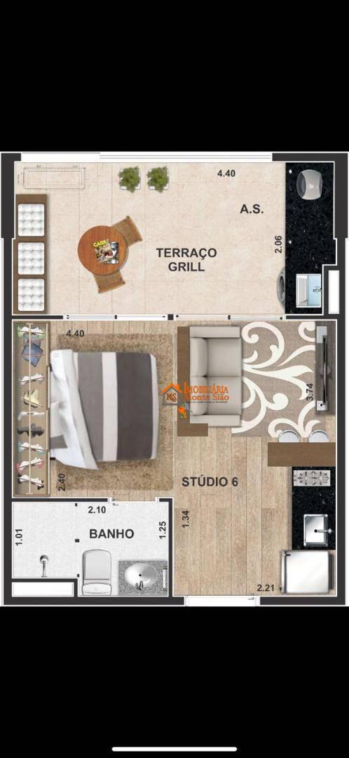 Studio com 1 dormitório à venda, 28 m² por R$ 231.352,00 - Centro - Guarulhos/SP
