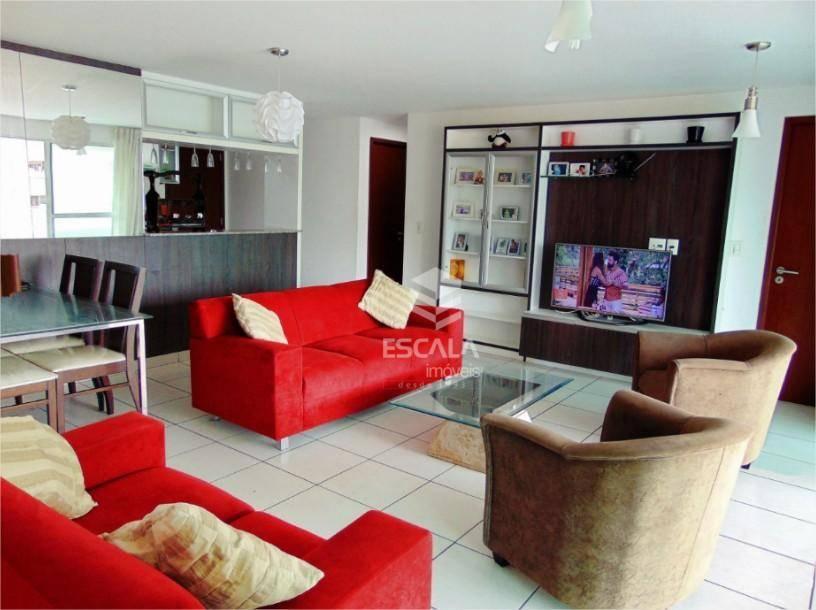 Apartamento com 4 quartos à venda, 112 m², 3 suítes, mobiliado, 2 vagas - Meireles - Fortaleza/CE