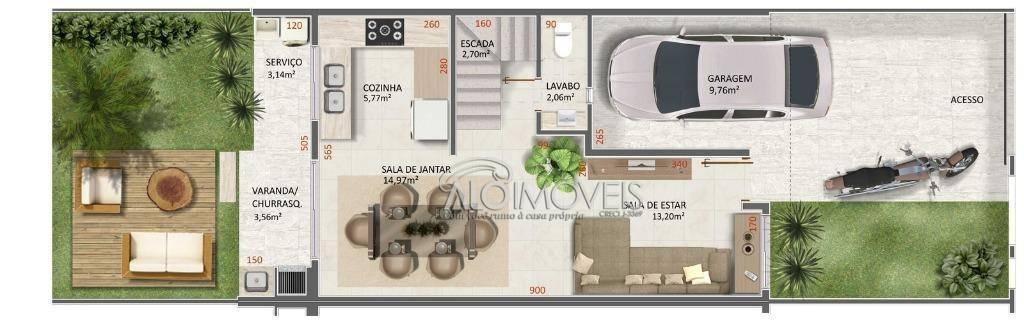 Sobrado com 3 dormitórios à venda, 124 m² por R$ 399.200 - Iguaçu - Araucária/PR
