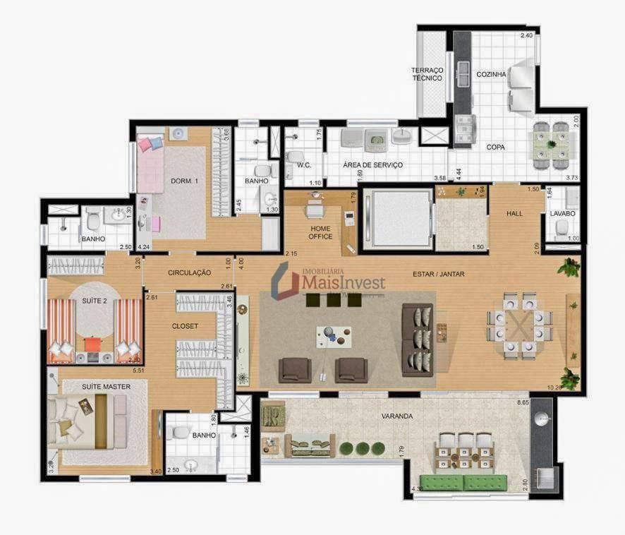 Apartamento com 3 dormitórios à venda, 166 m² - Ecoville - Curitiba/PR