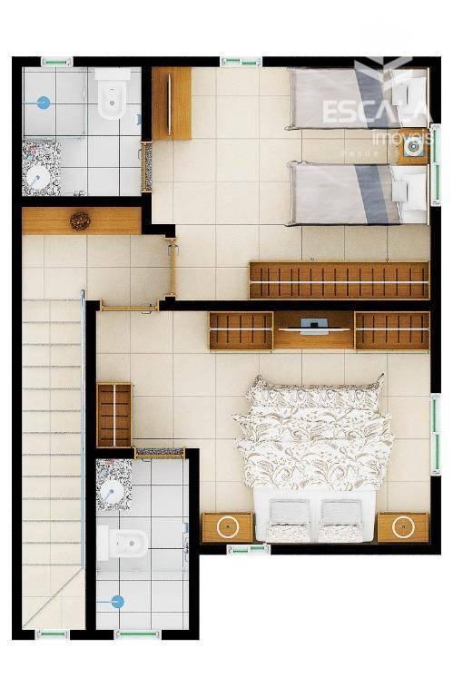 Casa com 3 quartos à venda, 72 m², nova, financia, condomínio fechado - Mestre Antônio - Caucaia/CE