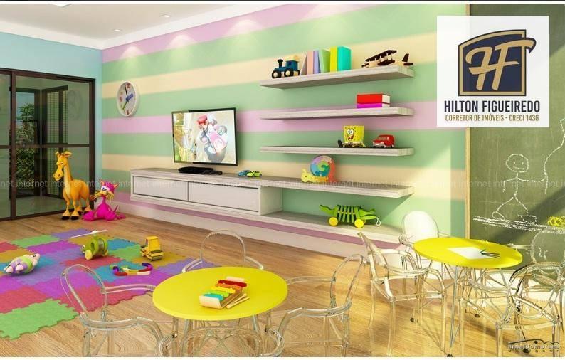 Vendo apartamento c/ 2 dormitórios s- 1 suite, sala 2 ambientes, varand, wc sociawsc, à venda, 60 m²  R$ 288.000 - Intermares - Cabedelo/PB