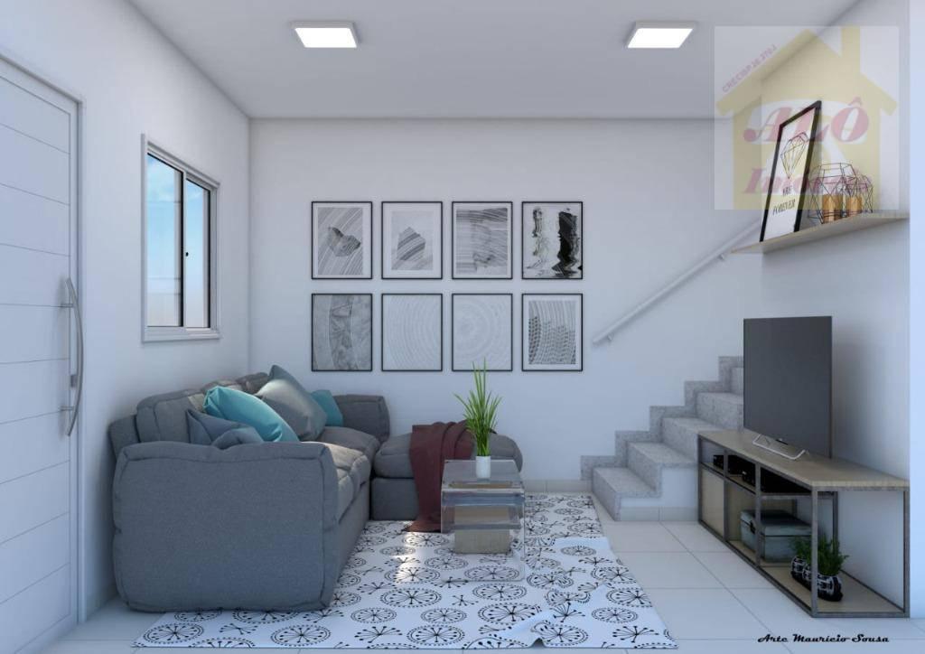 Sobrado com 2 dormitórios à venda, 41 m² por R$ 160.000 - Balneário Esmeralda - Praia Grande/SP