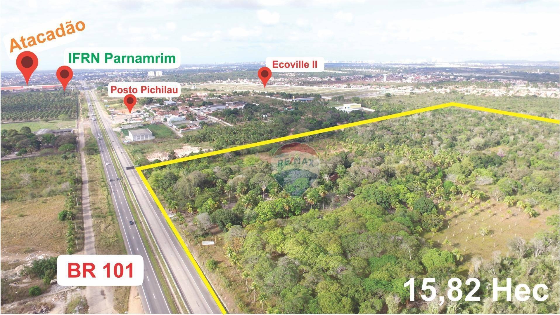 Área à venda na BR 101, 15,82 Ha por R$ 63,00 m² - Cajupiranga - Parnamirim/RN