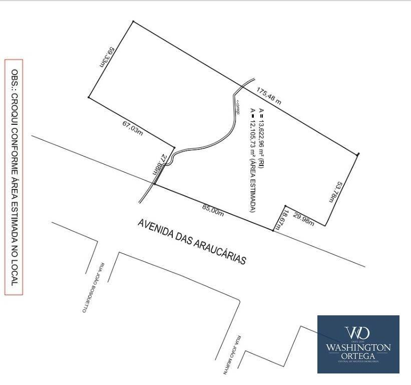 Área à venda, 13622 m² por R$ 2.145.616 - Thomaz Coelho - Araucária/PR