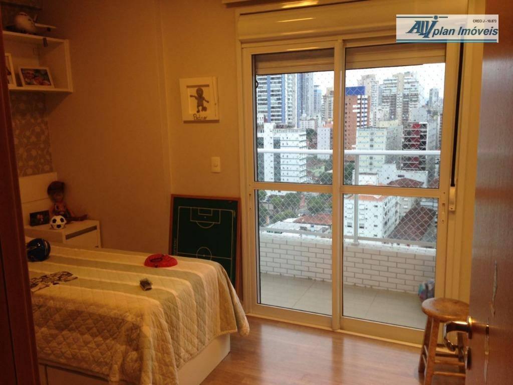 apartamento em santos , bairro pompeia,andra alto, novo, 3 dormitórios,armários embutidos,3 suites,sala 2 ambientes, sacada gourmet,ar...