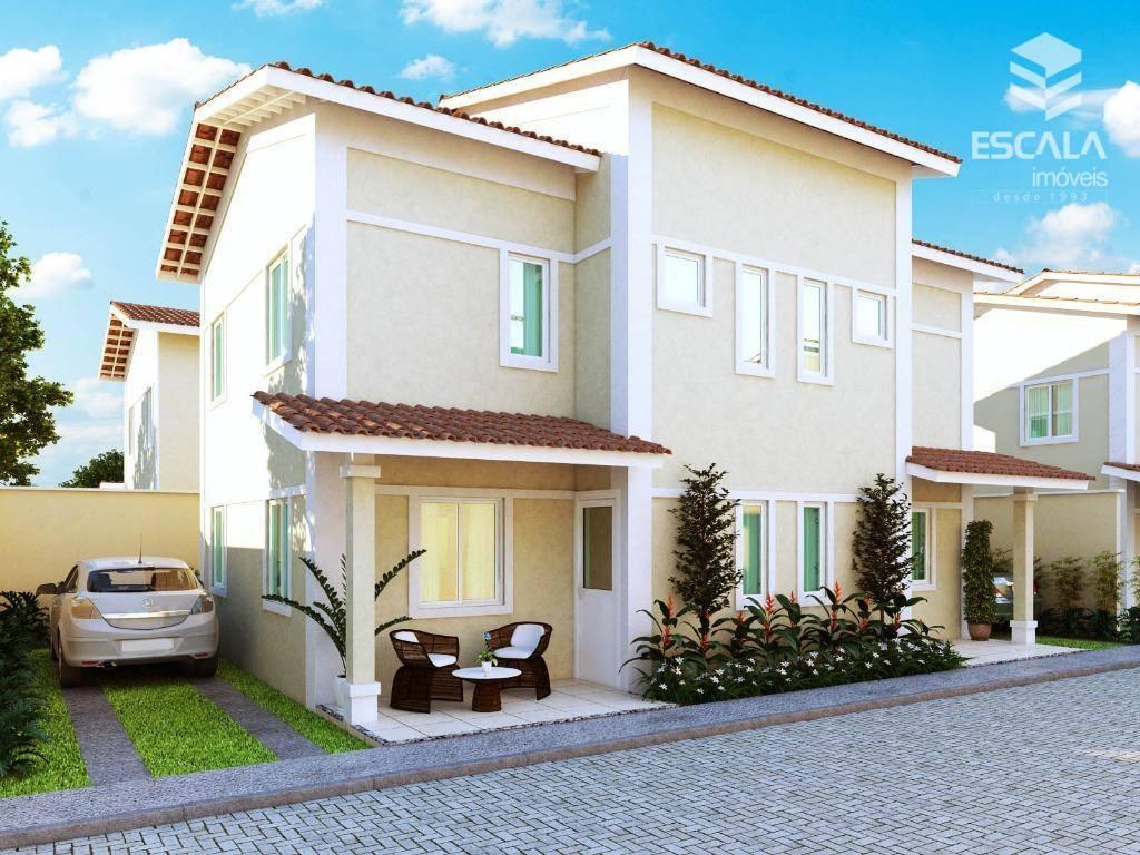 Casa duplex em cond. Fechado em Caucaia. 72m2, 3 suítes, 2 vagas. Aceita financiamento.