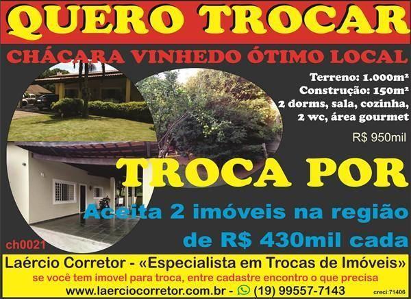 Chácara em Vinhedo, Aceita na Troca Imóveis até R$ 800mil