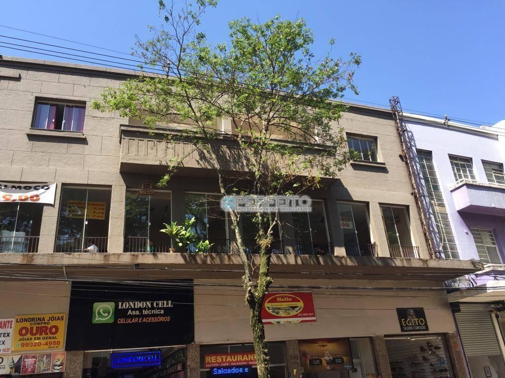 Sala comercial para alugar no Centro de Londrina, 120 m² por R$ 1.800,00/mês