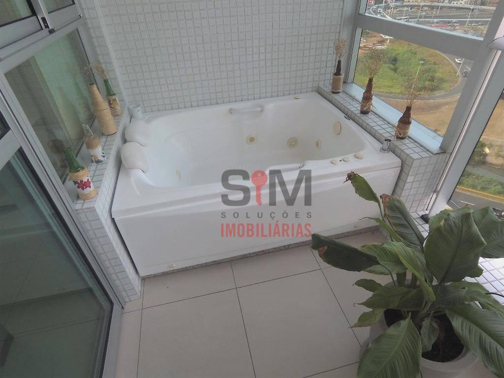Ed. Mundo Plaza, loft nascente para alugar, mobiliado, com banheira na varanda - R$ 1.500/mês - Caminho das Árvores - Salvador/BA