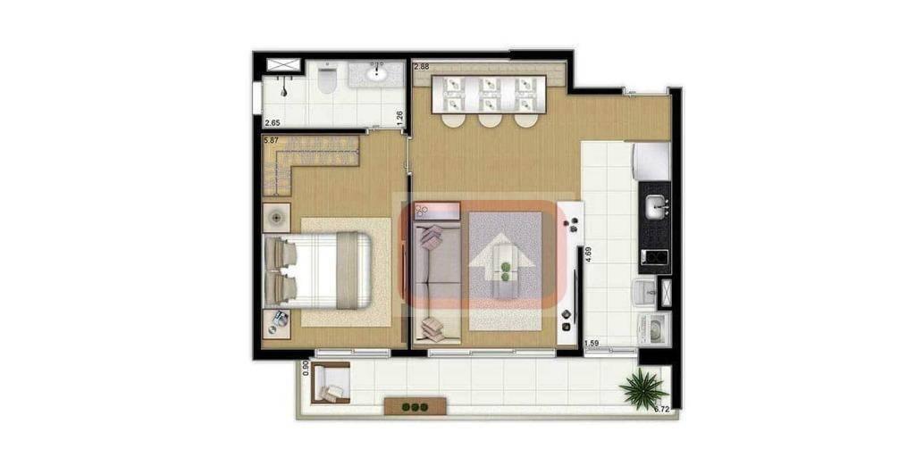 Apartamento de 1 dormitório à venda em Chácara Santo Antônio (Zona Sul), São Paulo - SP