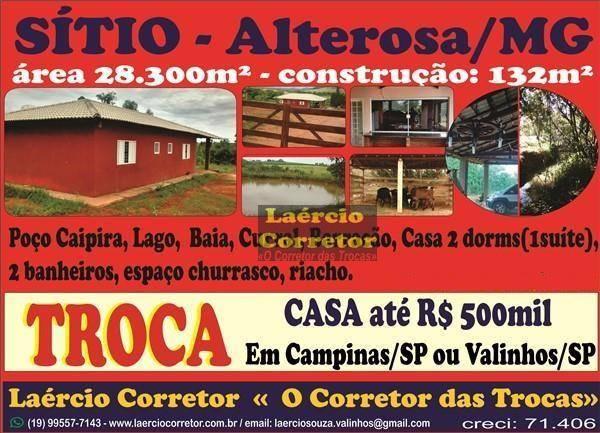 Troca Sítio Alterosa MG, Por Casa em Campinas SP, veja detalhes no anuncio