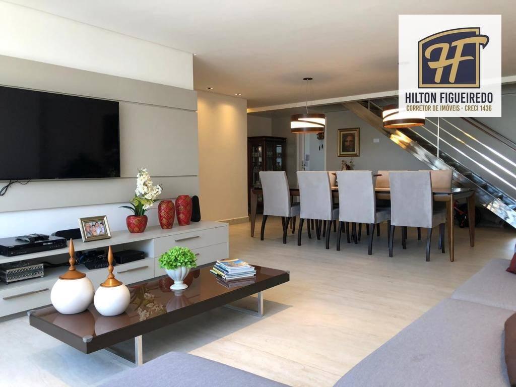 Vendo cobertura Duplex com 3 suites, 252 m², 2 varandas, sendo uma c/ hidro e gourmet,, churrasq, copa, AServ. R$ 1.700.000 - Manaíra - João Pessoa/PB