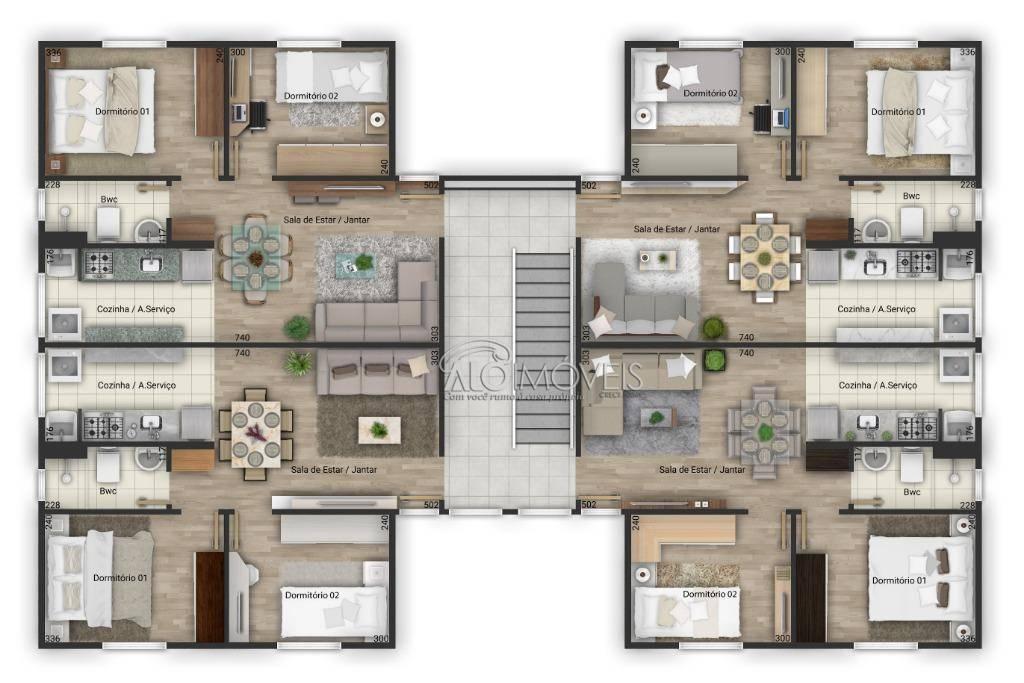 Imóvel na Planta - Apartamento com 2 dormitórios à venda, 41 m² por R$ 125.680 - Tanguá - Almirante Tamandaré/PR