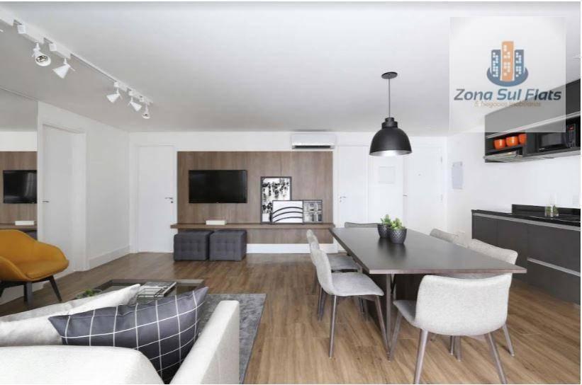 Apartamento Alto Padrão Para Locação No Brooklin Com Serviços I Varanda I Mobiliado I 2 Vagas I 97m²