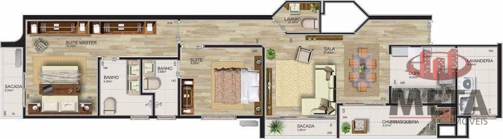 Apartamento com 2 Dormitórios à venda, 86 m² por R$ 633.761,03