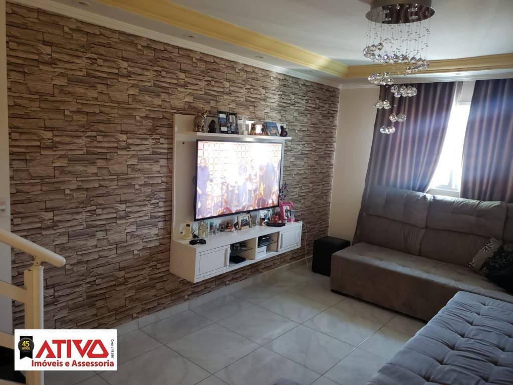 Sobrado com 3 dormitórios à venda, 130 m² por R$ 488.000,00 - Vila Linda - Santo André/SP