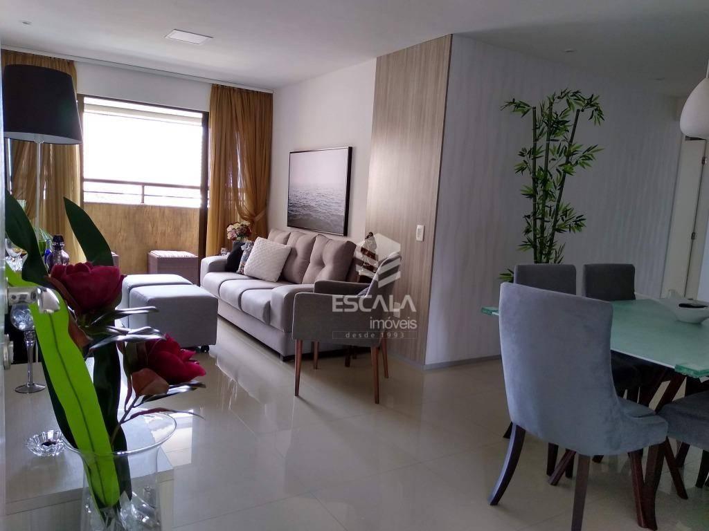Apartamento com 3 quartos à venda, 105 m², área de lazer, 2 vagas, projetado - Varjota - Fortaleza/CE
