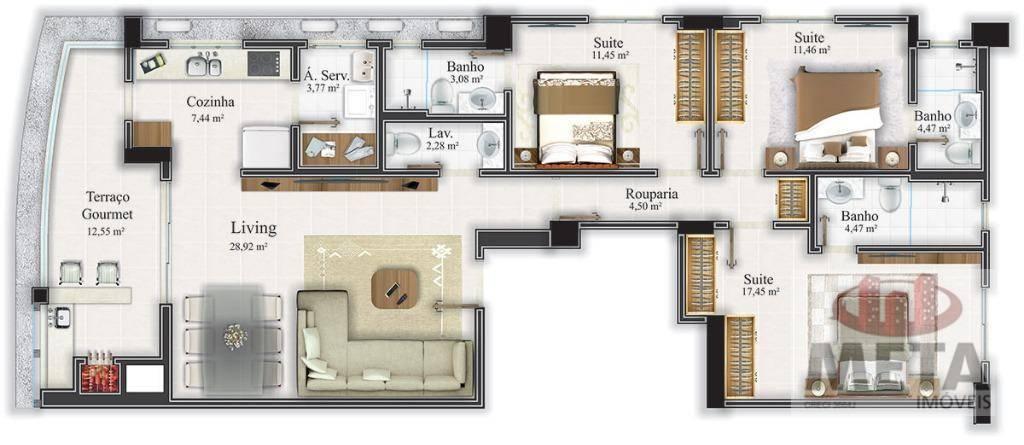 Apartamento com 3 Dormitórios à venda, 134 m² por R$ 970.000,00