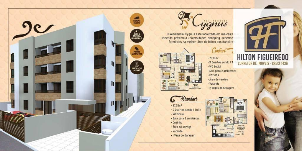 Apartamento com 2 dormitórios à venda, 57 m² por R$ 160.000 - Bancários - João Pessoa/PB