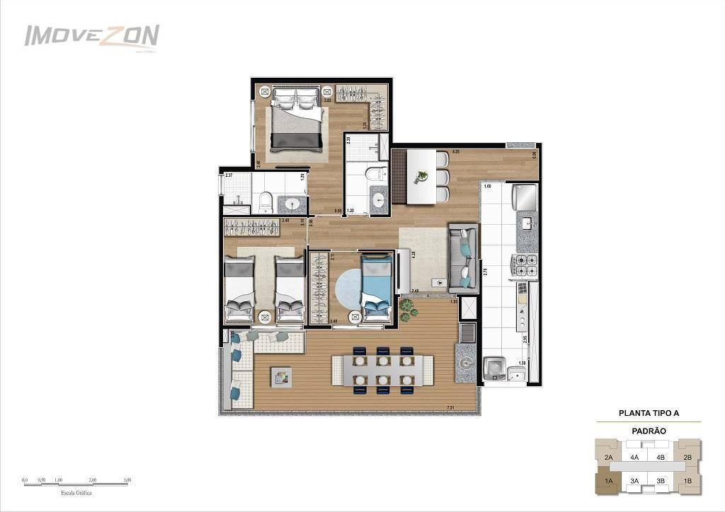 3 Dormitórios (1 suíte) - 78m²