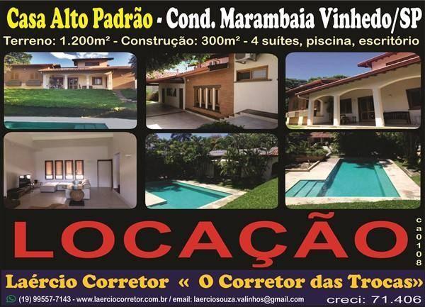 Casa Vinhedo Alto Padrão Condomínio Marambaia Aluga