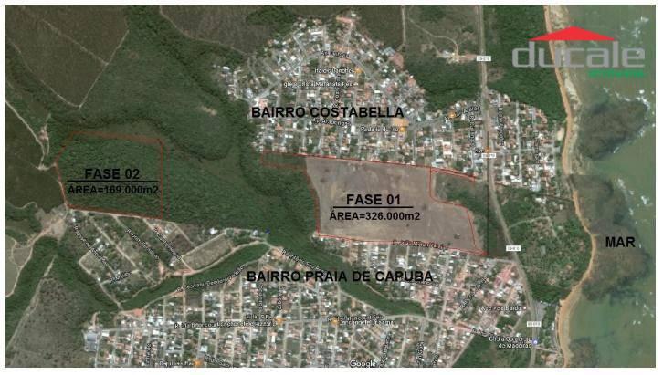 Área 169.000m2 com 105.000 m2 de área aproveitável PRAIA DE