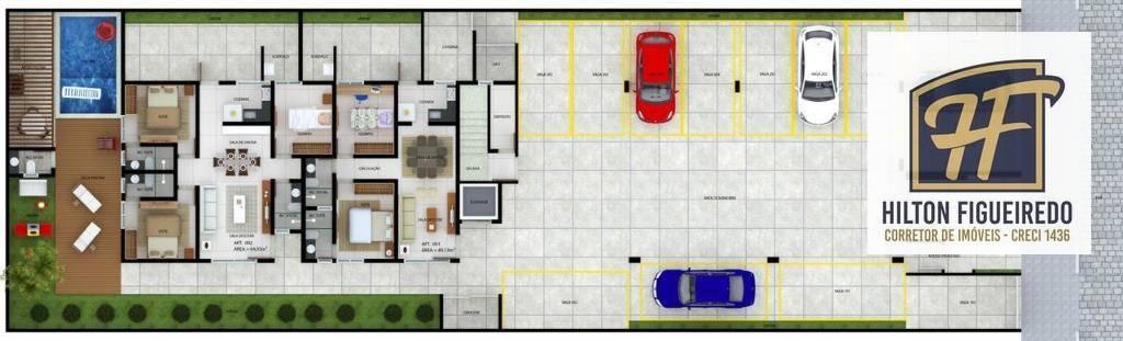 Apartamento com 2 dormitórios à venda, 60 m² por R$ 229.710 - Altiplano - João Pessoa/PB